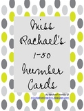 Miss Rachael's 1 to 50 Number Cards - Grey+Lime Polka Dots!