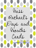 Miss Rachael's Day and Month Cards - Grey+Lime Polka Dots!