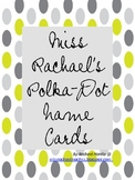 Miss Rachael's Desk Name Tags/Labels Printable - Grey+Lime