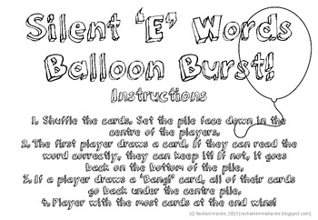 Miss Rachael's Silent 'E' Balloon Burst Game {Bossy E, Magic E}