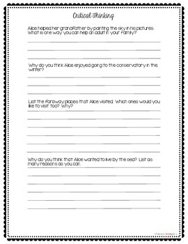 Miss Rumphius – Comprehension and Critical Thinking Questions