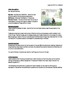 Miss Rumphius Guided Reading Lesson Plan - Level O