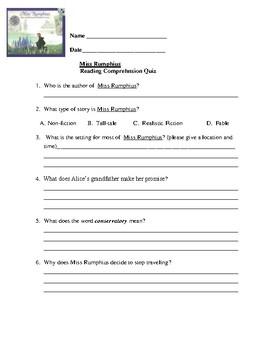 Miss Rumphius Reading Comprehnsion Quiz