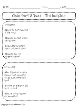 Miss Rumphius by Barbara Cooney Literature Pack [Common Core Aligned]
