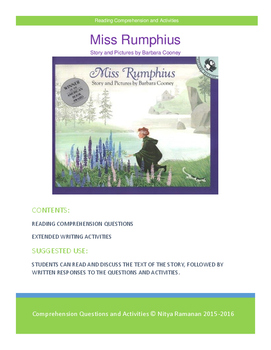 Miss Rumphius by Barbara Cooney -- Reading Comprehension a