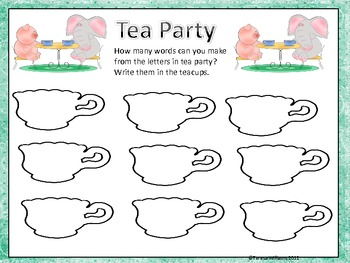 Miss Spider's Tea Party Literacy and Math Packet