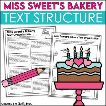Text Organization Printable Activity: Miss Sweet's Bakery