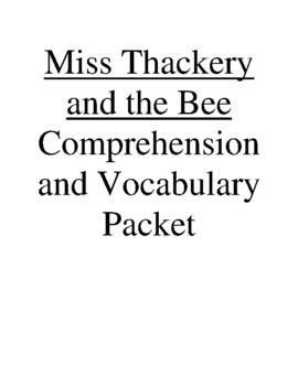 Miss Thackery and the Bee Guided Reading Unit Level P (Rigby Leveled Reader)