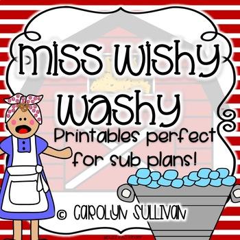 Miss Wishy Washy : NO PREP Printables Perfect for Sub Plans