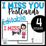 Miss You Postcards Note Cards Editable Distance Learning