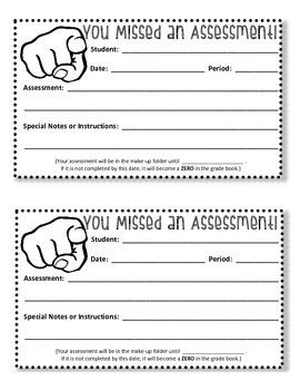 Missed Assessment Reminder Sheet
