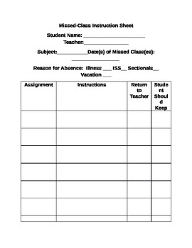 Missed-Class Instruction Sheet