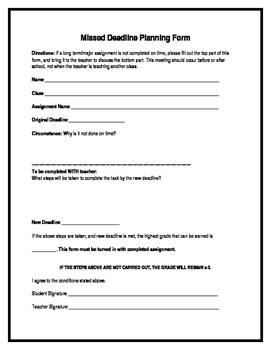 Missed Deadline Planning Form