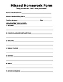 Missed Homework Form - for Elementary Students