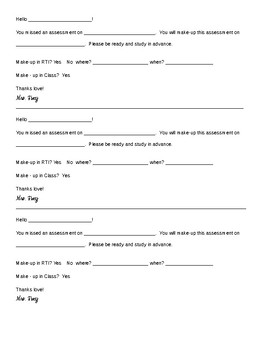 Missed Quiz Form