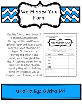 Missed You Form - For Students Who Are Absent From Class