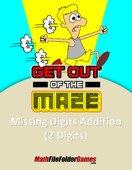 "Missing 2 Digits Addition Mazes ""Fun Math Worksheets"""