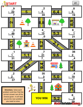 """Missing 2 Digits Subtraction Mazes """"Fun Math Worksheets"""""""