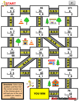 """Missing 3 Digits Subtraction Mazes """"Fun Math Worksheets"""""""