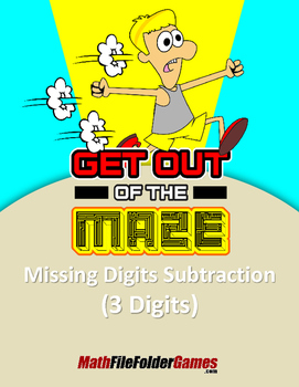 "Missing 3 Digits Subtraction Mazes ""Fun Math Worksheets"""