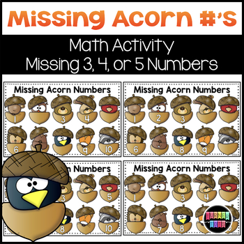 Missing Acorn Numbers Math Activity