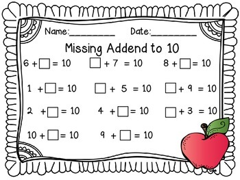 Addends to 10 Worksheets   Full Color Addition Game, Addition Math Mat