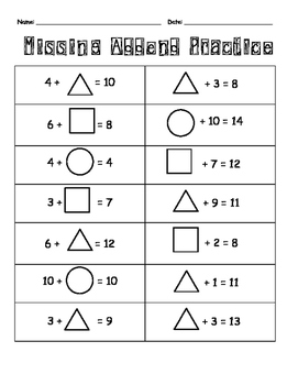 Missing Addend Practice with Addition