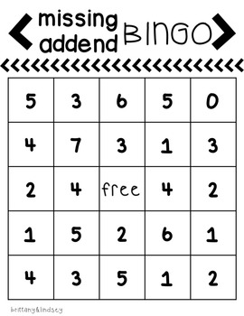 Missing Addend Bingo Games