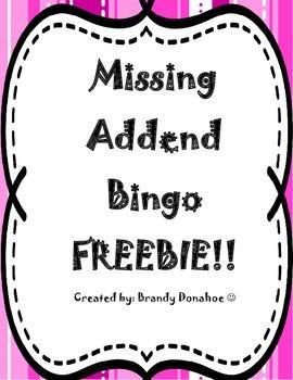 Missing Addend Bingo FREEEBIE!