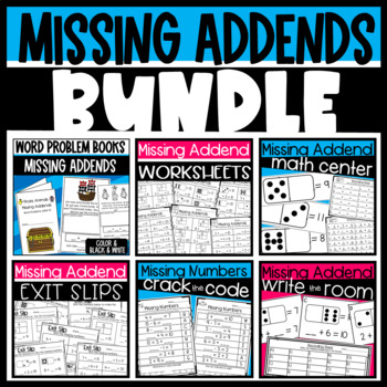 Missing Addend Bundle: Books, Math Centers/ task cards, and Worksheets