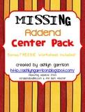 Missing Addend Center Pack & Bonus Worksheet! Common Core 1.OA.8
