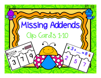 Missing Addend Clip Cards
