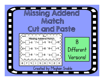 Missing Addend Cut & Paste- Common Core Aligned- ENY Aligned