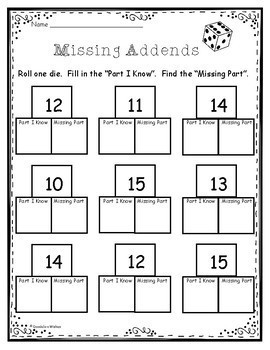 Missing Addend Dice Activity