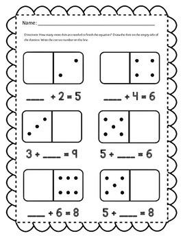 math worksheet : addend domino math activities  teaching missing addends with dominos! : Missing Addends