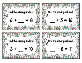 Missing Addend Equations Task Cards