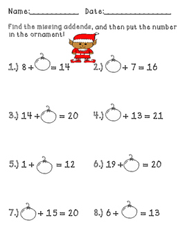 Christmas Missing Addend Exit Tickets