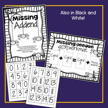 Missing Addend Fall Math Center FREEBIE!