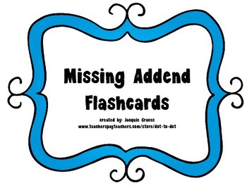 Missing Addend Flashcards FREEBIE