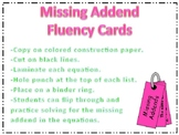 Missing Addend Fluency Cards