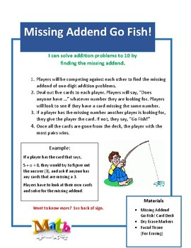 Missing Addend Go Fish!