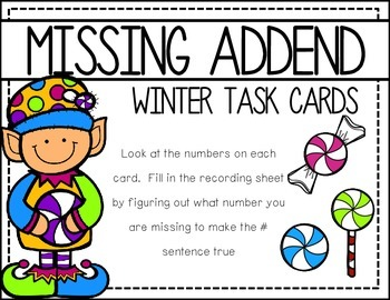 Missing Addend: Holiday Task Cards