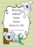 Missing Addend Koala Scoot - Sums to 100