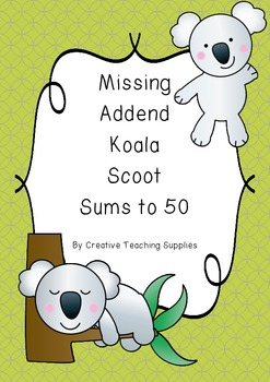 Missing Addend Koala Scoot - Sums to 50