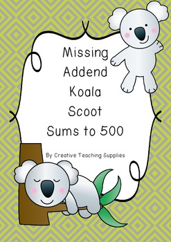 Missing Addend Koala Scoot - Sums to 500