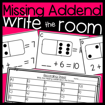 Missing Addend Math Center: Task Cards/ Write the Room