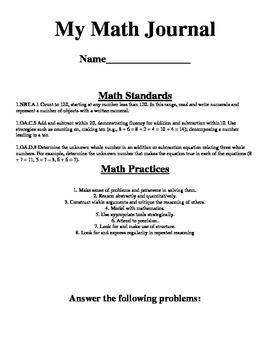 Missing Addend Math Journal