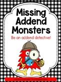 First Grade Math: Missing Addend Games