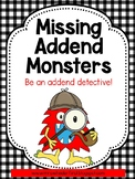 First Grade Math: Missing Addend Games