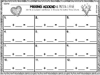 Missing Addend & Pizza Love FREEBIE! ♥